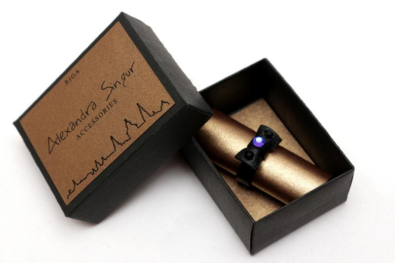 кожаный кольца со swarovski